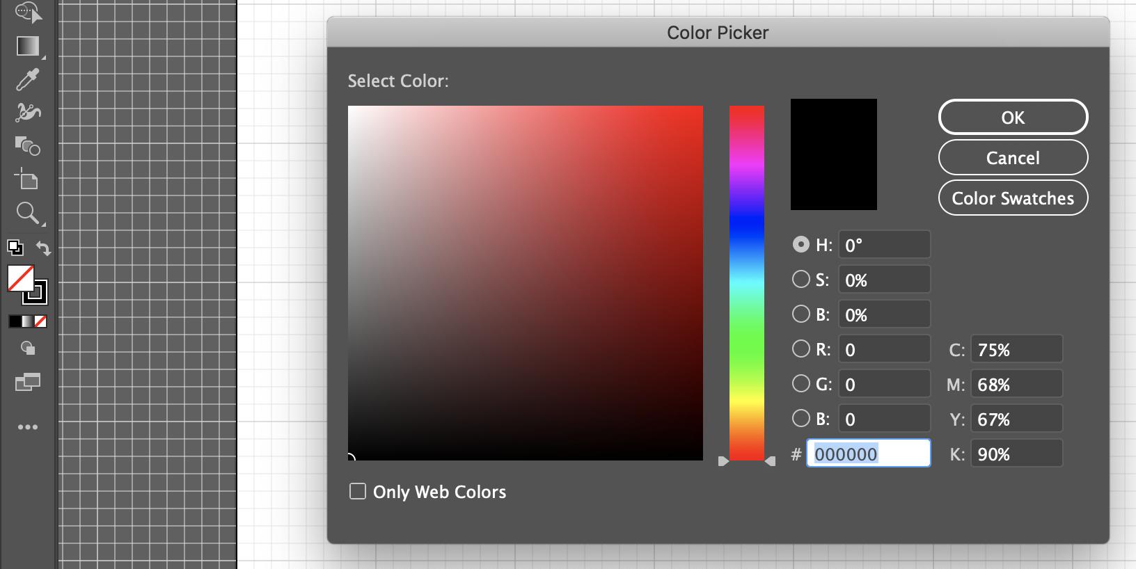 Color section in Adobe Illustrator