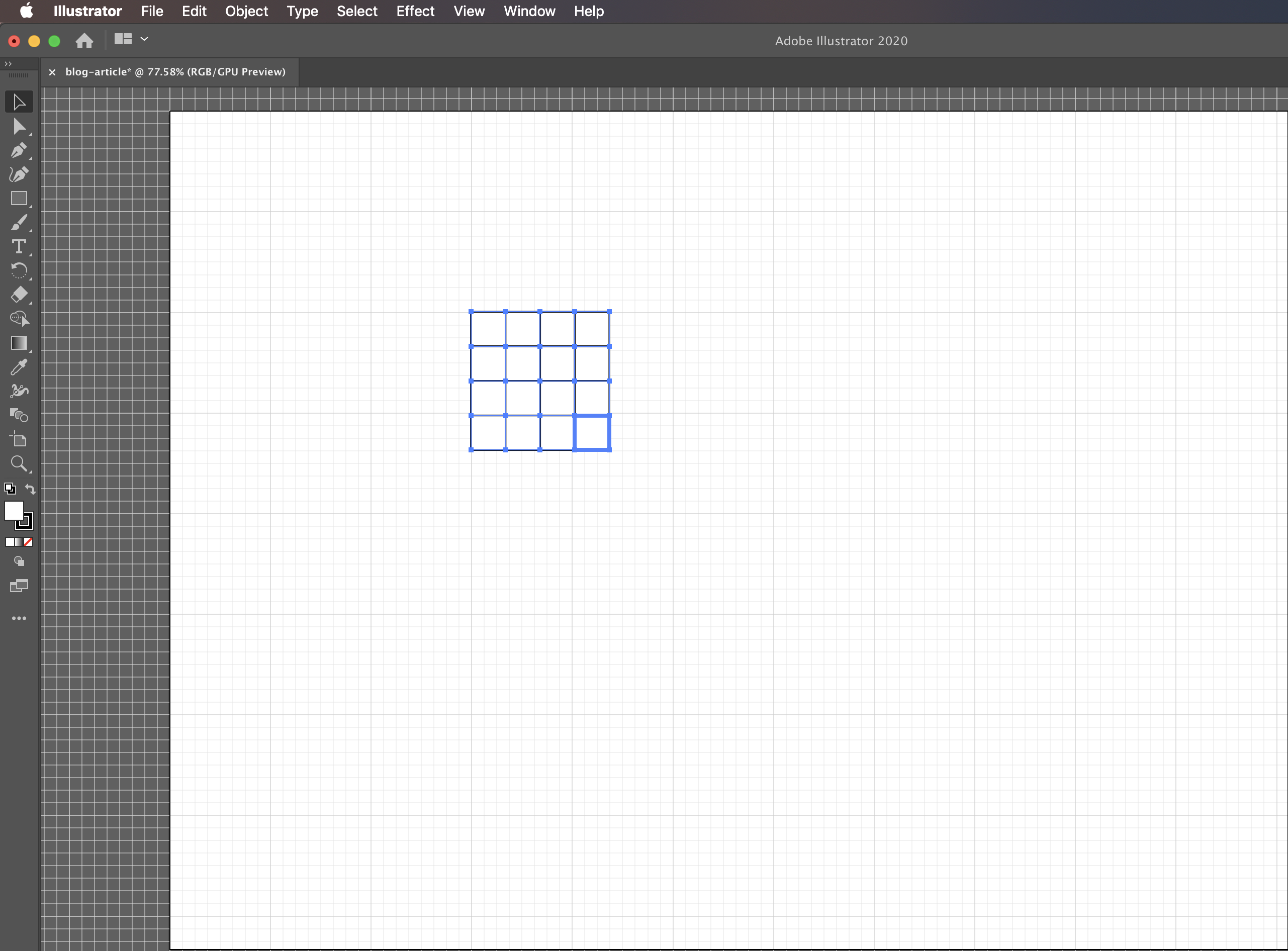 Final grid in Adobe Illustrator that can be used to create matrices in Computer Science diagrams.