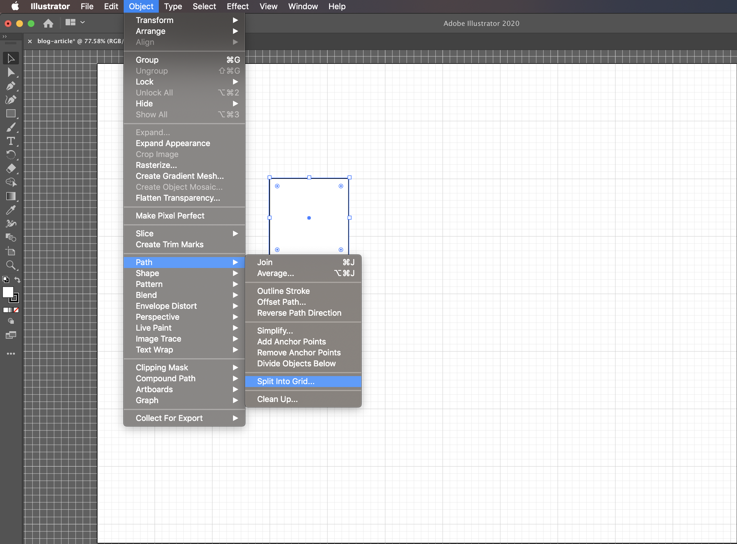Select path from menu to choose grid creation menu.